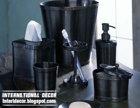 Stylish Bathroom Accessories Set Black Shampoo Pump With Tissues Box