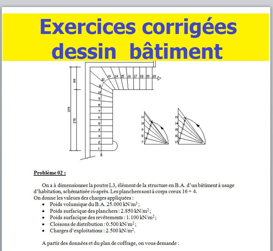 2 Exercices Corrigées En Dessin De Bâtiment Cours Génie
