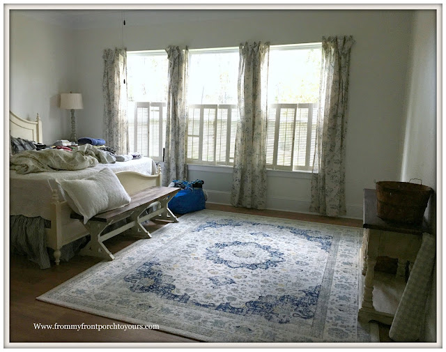 master bedroom makeover-rug-new curtains-farmhouse-from my front porch to yours