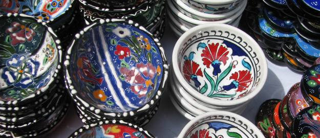 Decorative bowls in an artisan booth in Chicago, Illinois