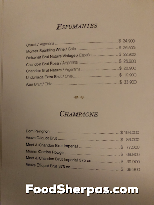 menu from Carnal in Santiago, Chile