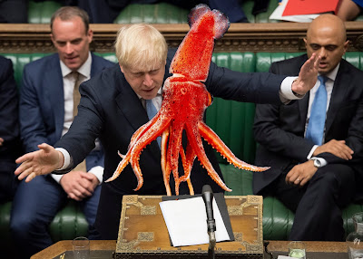 Boris Johnson fighting a giant squid picture