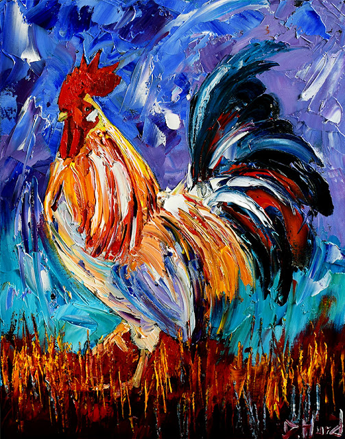 Rooster Art Chicken Paintings Farm Animal Painting Colorful by Debra Hurd