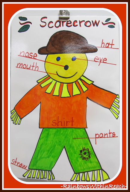 photo of: Scarecrow Anchor Chart in Kindergarten via RainbowsWithinReach
