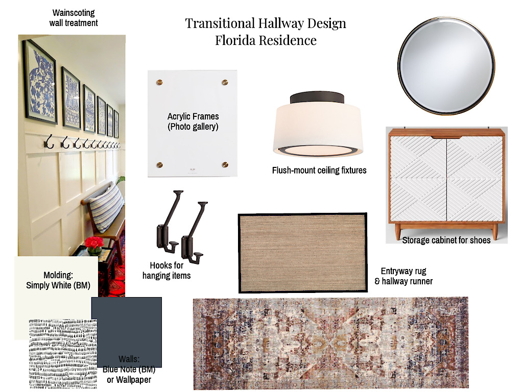 CAD Interiors online interior e-design transitional design decorating styling furnishing blue gray white black wood gold brass green pink wainscoting wall paneling entryway long narrow foyer