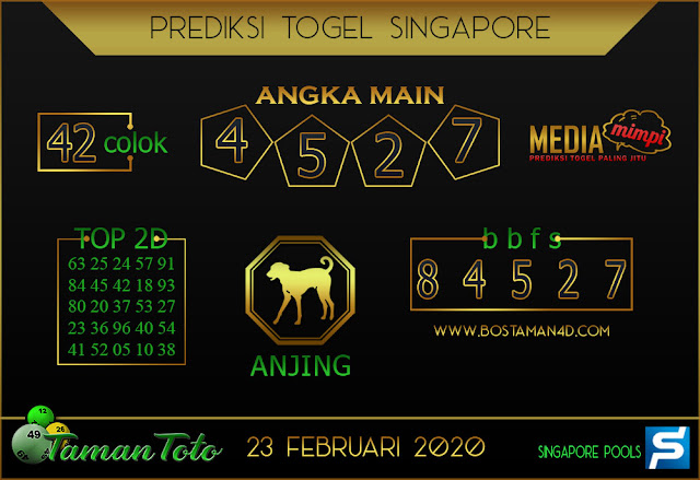 Prediksi Togel SINGAPORE TAMAN TOTO 23 FEBRUARY 2020