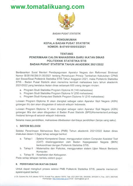 jadwal persyaratan cara daftar spmb politeknik statistika stis tahun 2021 2022 tomatalikuang.com
