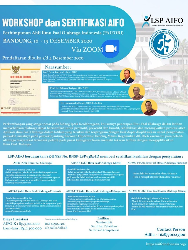 Pelatihan dan Sertifikasi AIFO (Ahli Ilmu Faal Olahraga)