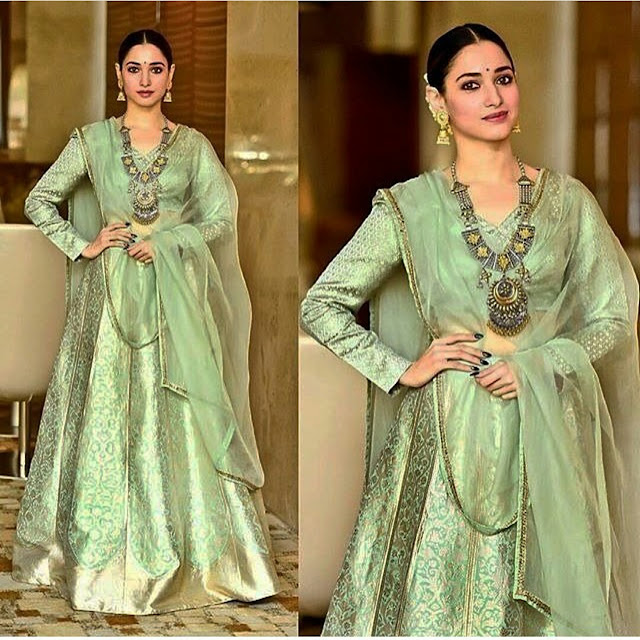 Tamannaah Bhatia In Raw Mango Green Lehenga