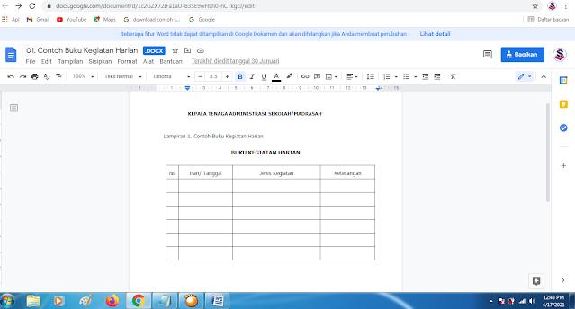 Download Contoh Format terbaru Buku Kegiatan Harian Sekolah/Madrasah