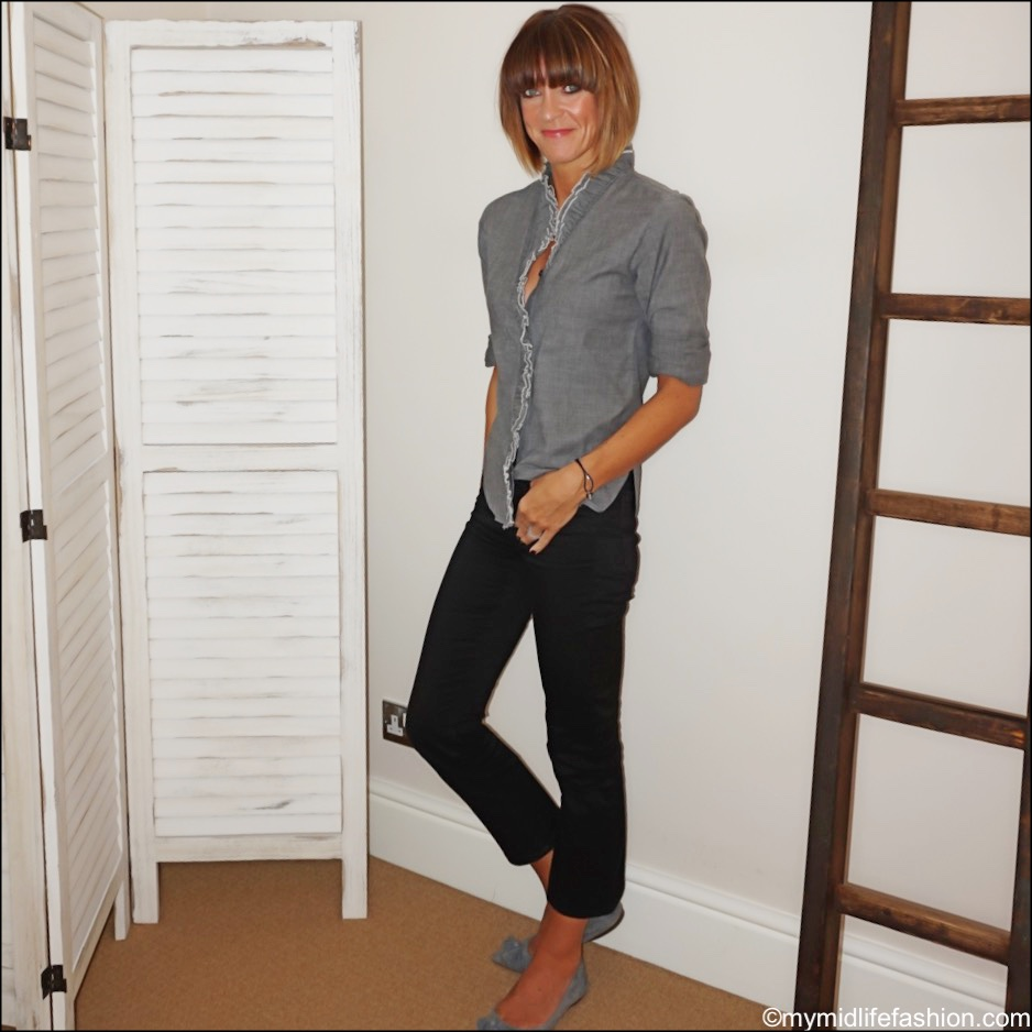 my midlife fashion, Isabel Marant Etoile frill detail chambray shirt, j crew billie Demi crop kick flare jeans, j crew suede tassel pointed flats