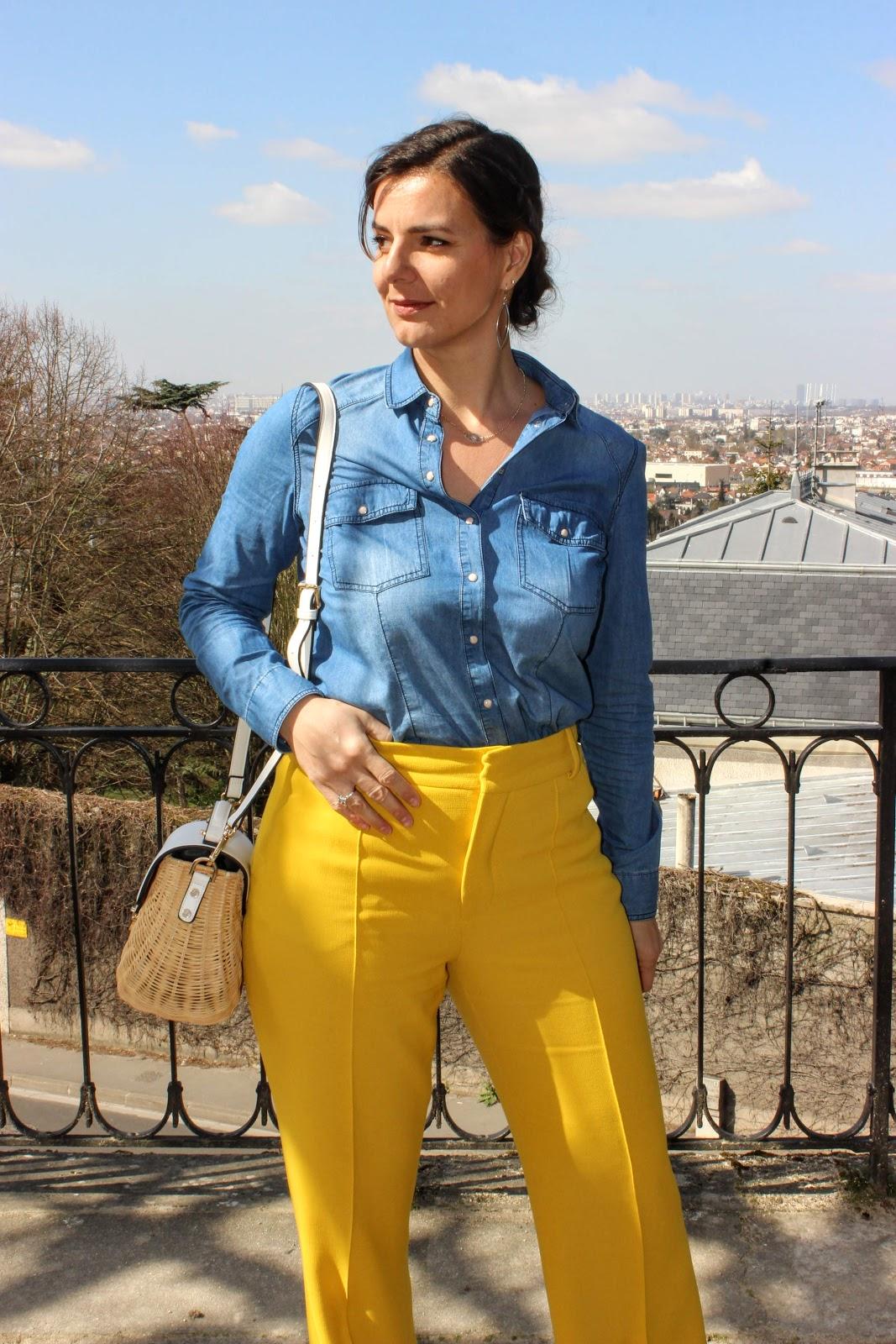 pantalon jaune zara, panier dune london, look du jour, les petites bulles de ma vie, mode