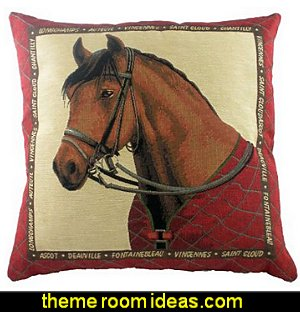 Equestrian Red Pillow Cover