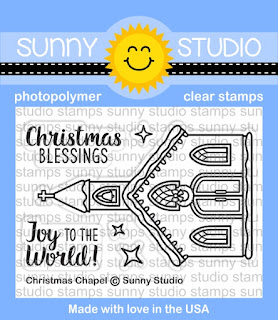 Sunny Studio Stamps: Christmas Chapel church themed winter holiday 2x3 clear photopolymer stamp set