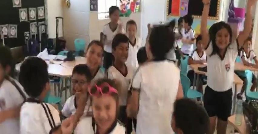 Celebración de niños sobre suspensión de clases por coronavirus se hace viral [VIDEO]