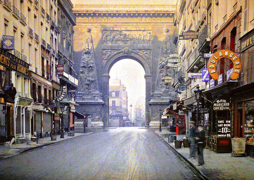 40 Old Color Pictures Show Our World A Century Ago - Porte Saint Denis, Paris, 1914