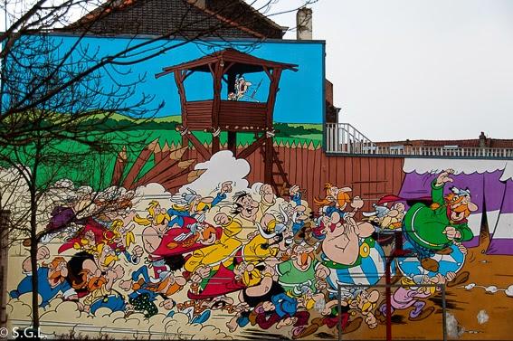 Fotografia del mural de asterix en Bruselas