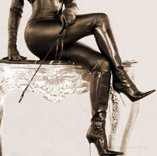 boots, whip, leather pants, aka classic dominatrix outfit. Hot but not mesmerizing.