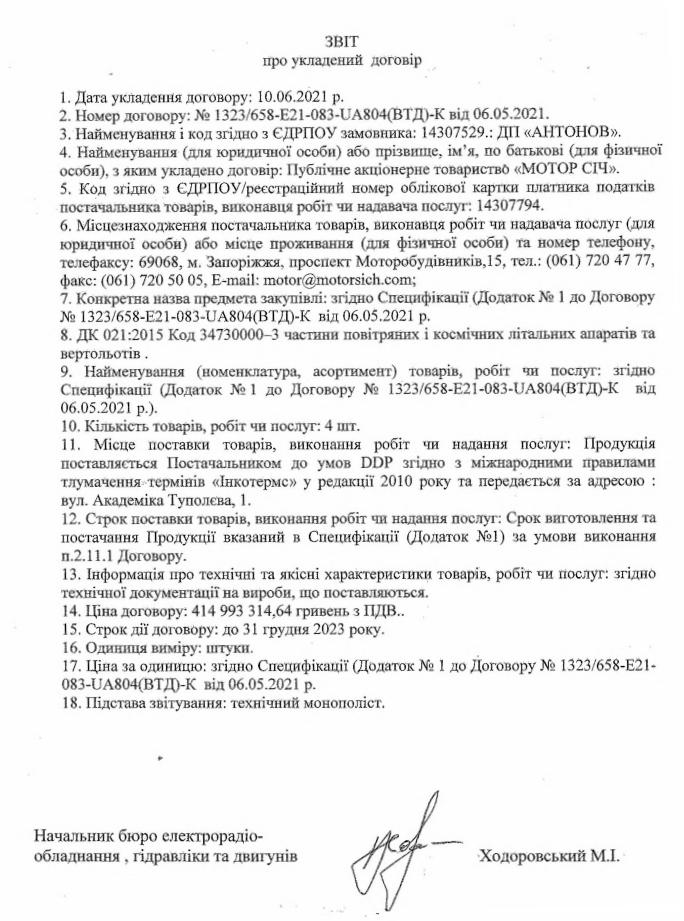 Антонов придбав у Мотор Січі двигуни для Ан-178