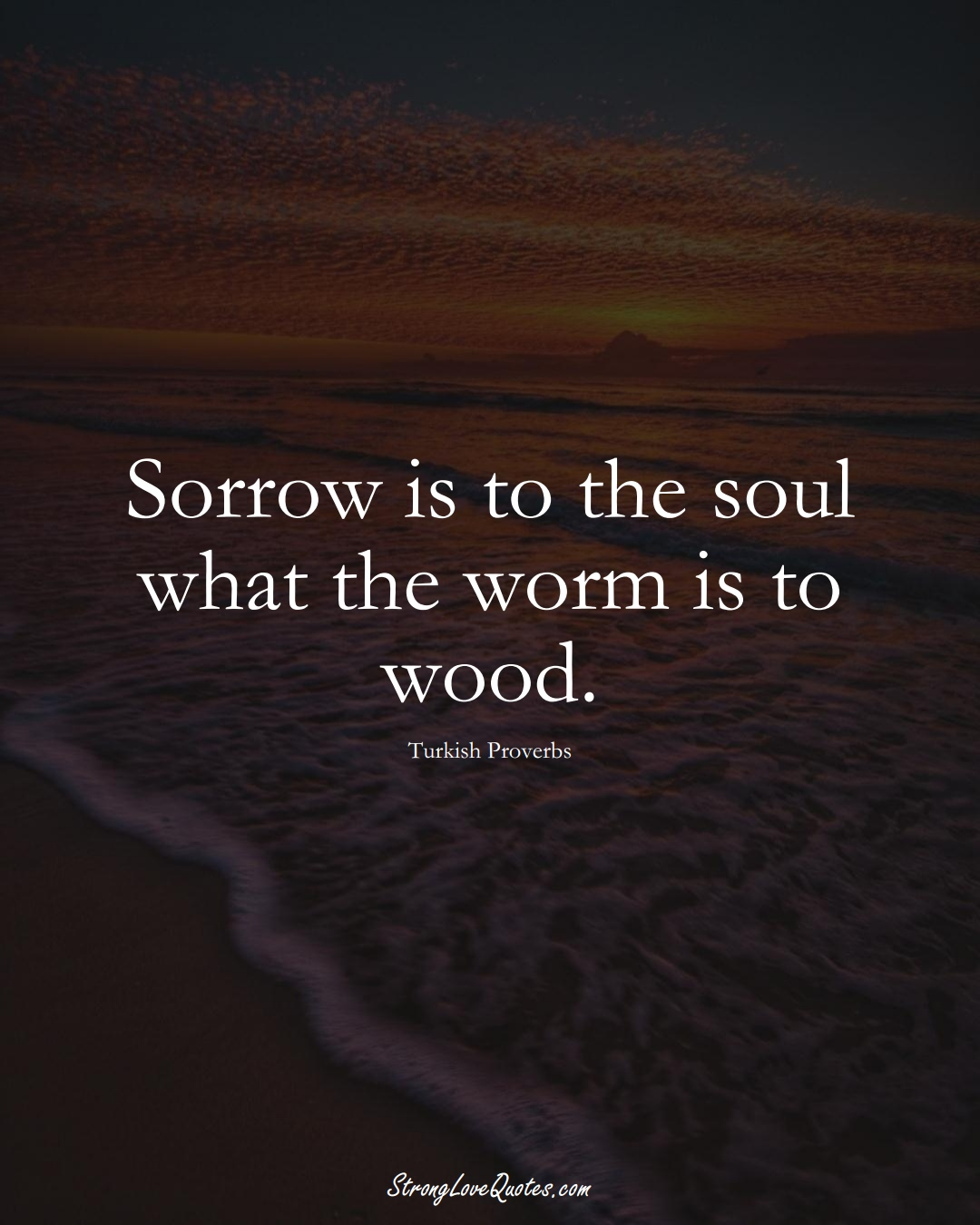 Sorrow is to the soul what the worm is to wood. (Turkish Sayings);  #MiddleEasternSayings