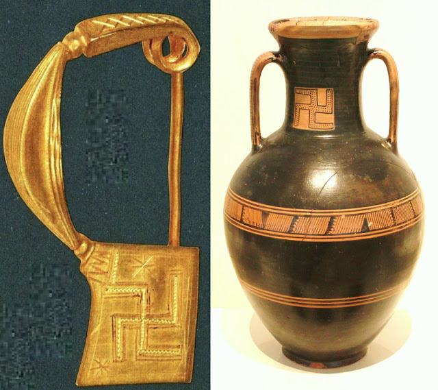 Left: Gold arched buckle from Anavyssos, Attica.Ca 800 BCE.  Athens, National Archaeological Museum, Jewelry Collection. Right: Greek vase from Metropolitan Museum Athens