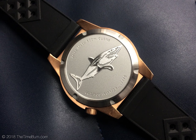 Zelos Mako bronze diver case back