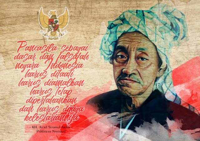 WOOD PAINTING KH. As'ad Syamsul Arifin (Pahlawan Nasional)