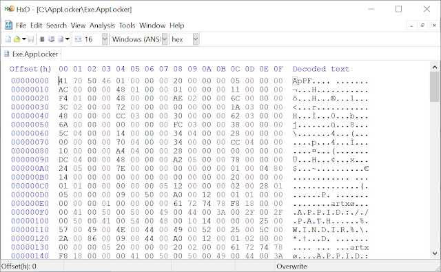Hex dump of the Exe.Applocker file which shows only binary data, no XML.