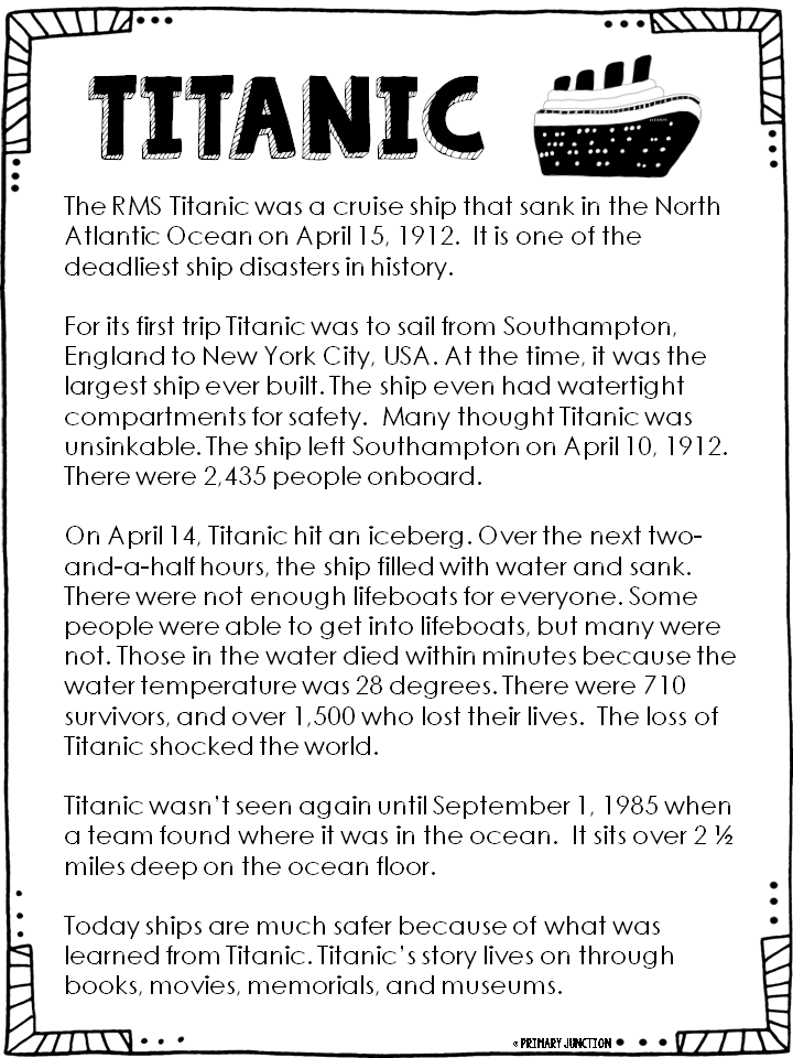 Primary Junction Free Titanic Reading Comprehension Packet – Titanic Worksheets