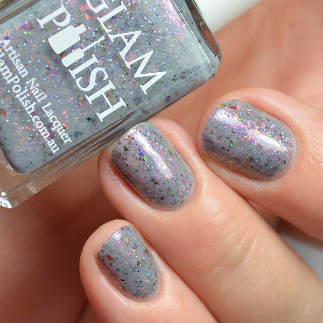 grey crelly shimmer nail polish