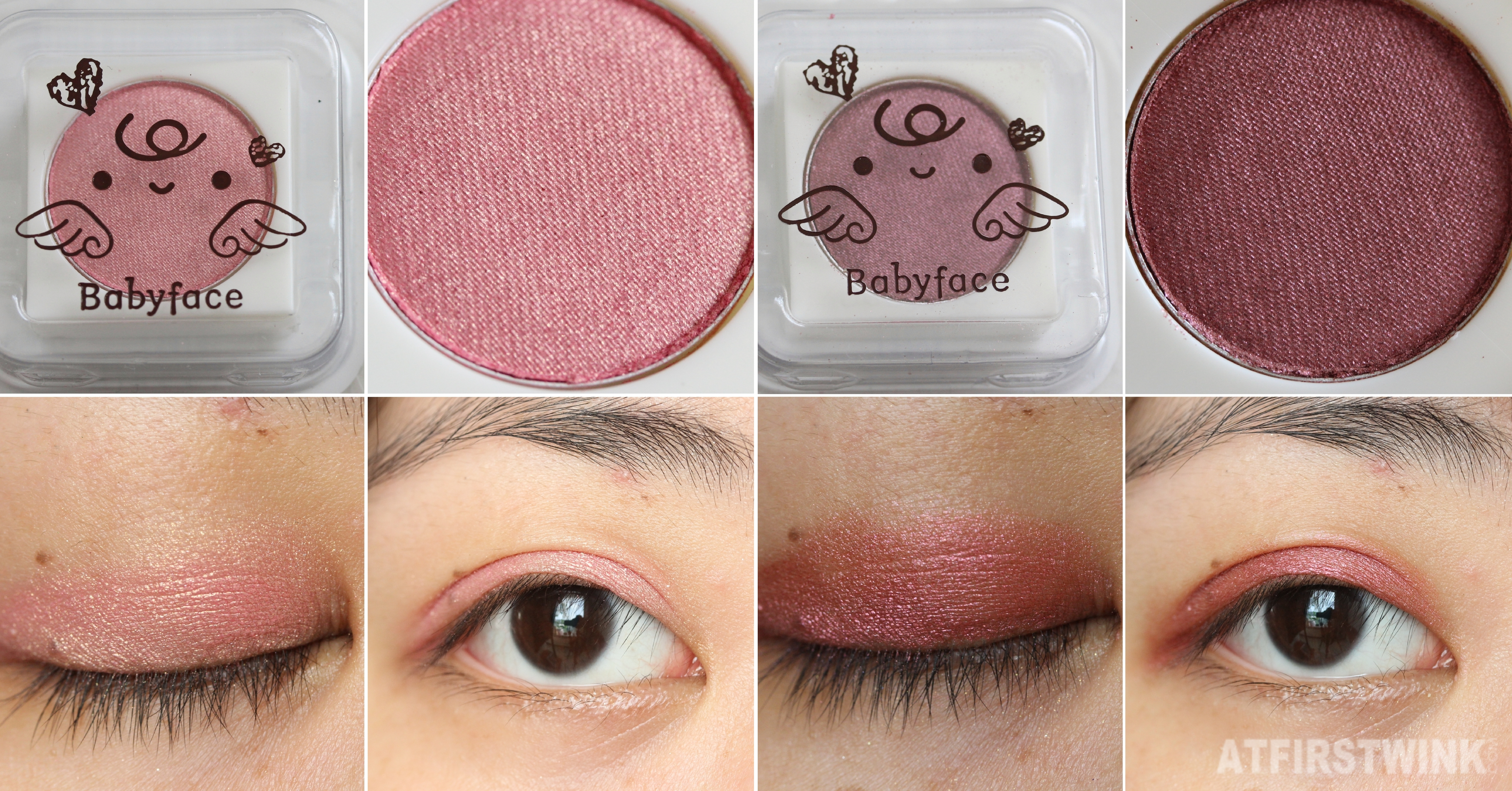 It's skin babyface mini love eyeshadow 09 - Lovely girls and 15 - Twilight eye swatches open and closed