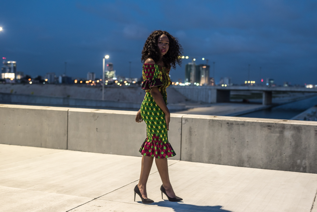 Peplum Hem Dress with African Print