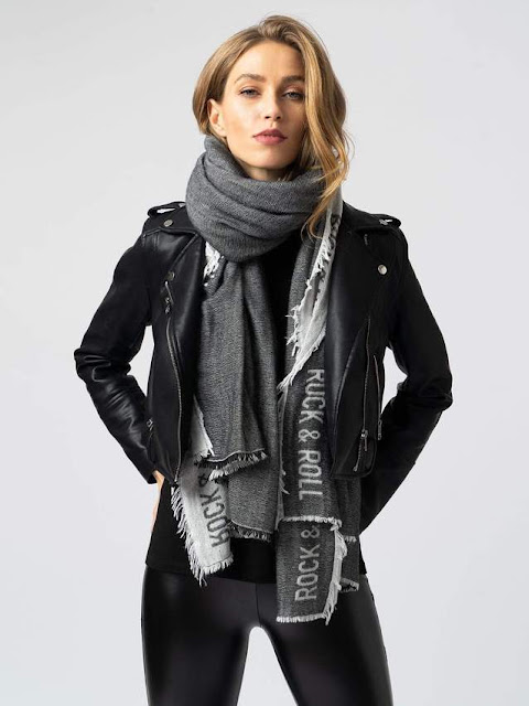 saint and Sofia black rock and roll scarf wool