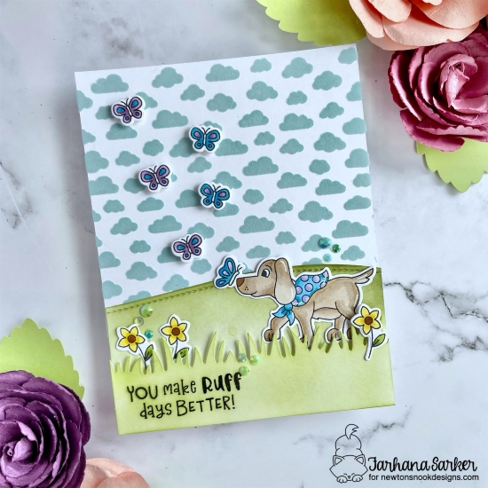 Newton's Nook Designs & Therm O Web Inspiration Week | Ruff Day Puppy Card by Farhana Sarker | Puppy Friends Stamp Set, Petite Clouds Stencil and Land Borders Die Set by Newton's Nook Design with Flock by Therm O Web #newtonsnook #handmade