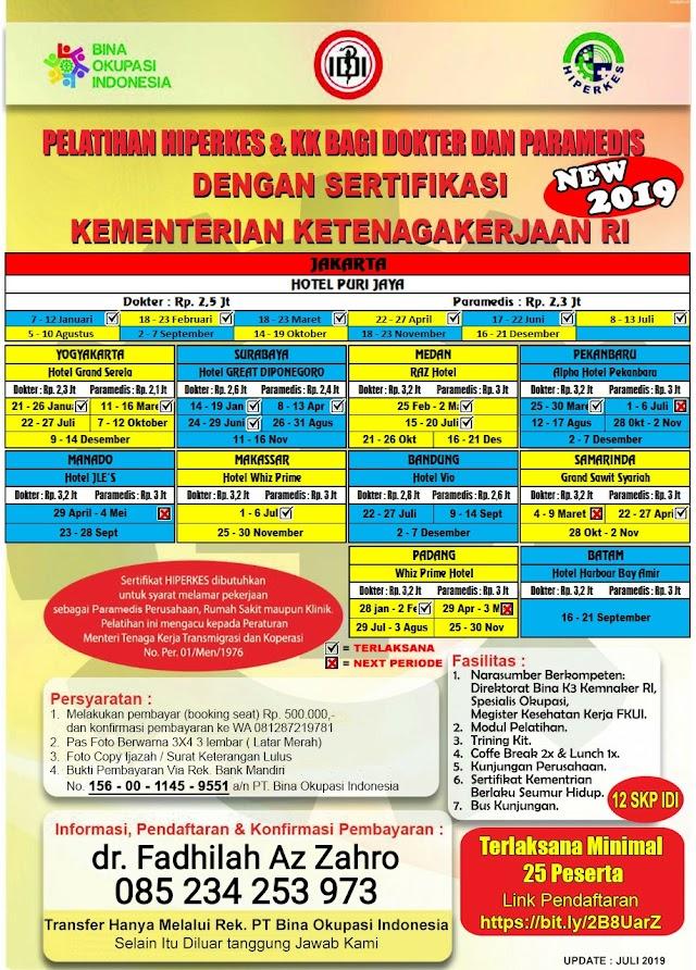 Jadwal Pelatihan HIPERKES Agustus 2019 (Jakarta, Pekanbaru, Surabaya) untuk Dokter dan Paramedis Lokasi Jakarta, Surabaya, Pekanbaru