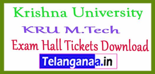 Krishna University KRU M.Tech Exam Hall Tickets Download