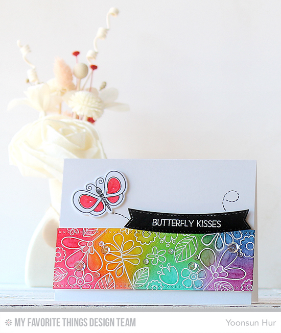 Butterfly Kisses Card by Yoonsun Hur featuring Build-able Bouquet stamp set, the Lisa Johnson Designs Fly-By Friends stamp set and Die-namics, and the Basic Stitched Lines and Blueprints 28 Die-namics #mftstamps