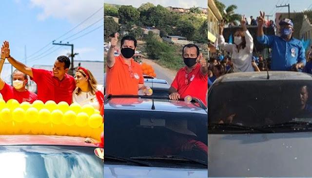 Três candidatos a prefeito de Escada arrastam multidão em carreatas neste domingo (25)