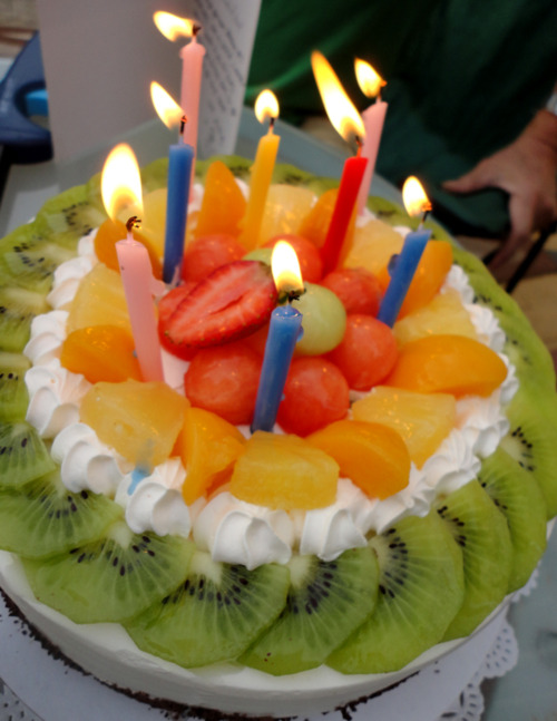 Happy Birthday Fruit Cake With Candle Images