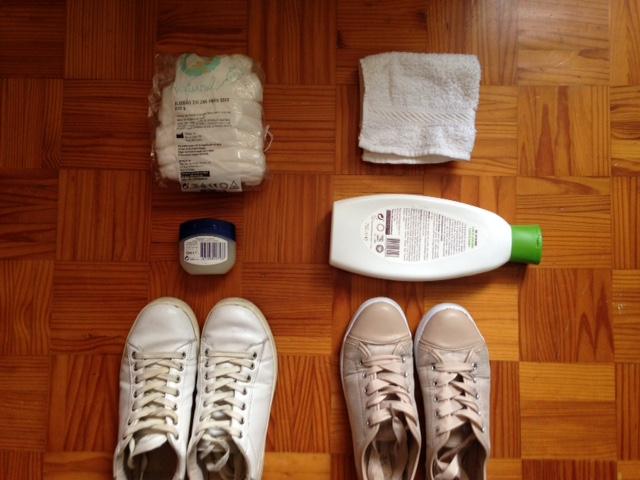 limpar o calçado com vaselina e gel de banho