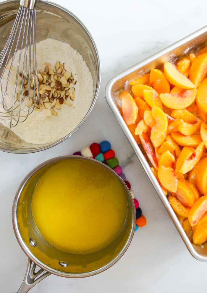 How to Almond Peach Dump Cake from scratch, without boxed cake mix or canned fruit
