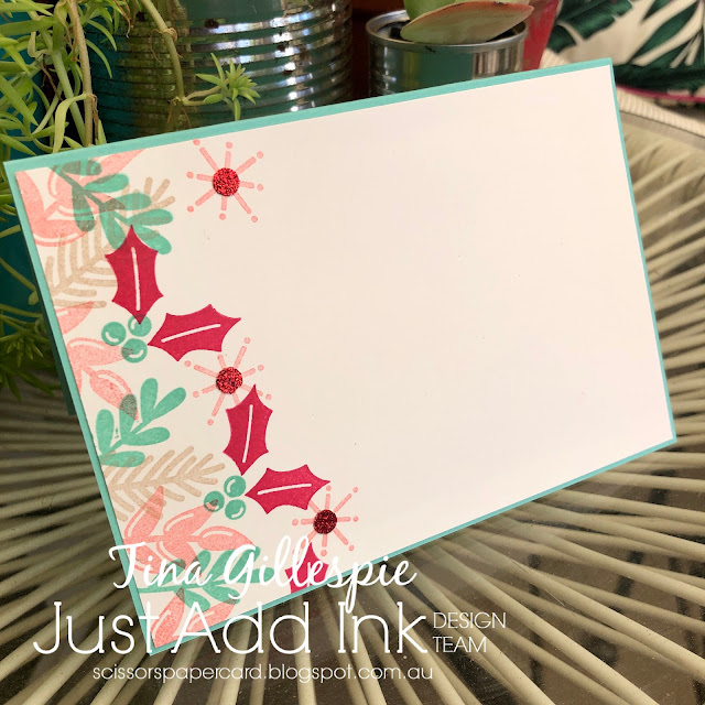 scissorspapercard, Stampin' Up!, Just Add Ink, Peace & Joy Bundle, Red Glimmer Paper
