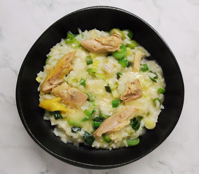 Risotto poireaux - poulet - gorgonzola