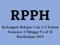 RPPH KB Usia 2-3 Tahun Semester 2 Minggu 9 s-d 16