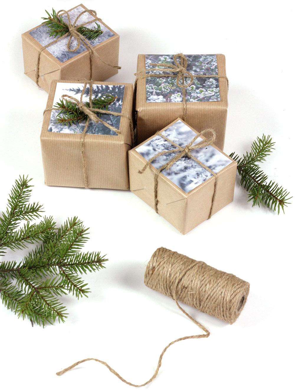 Dekorera julklappar, fotografier