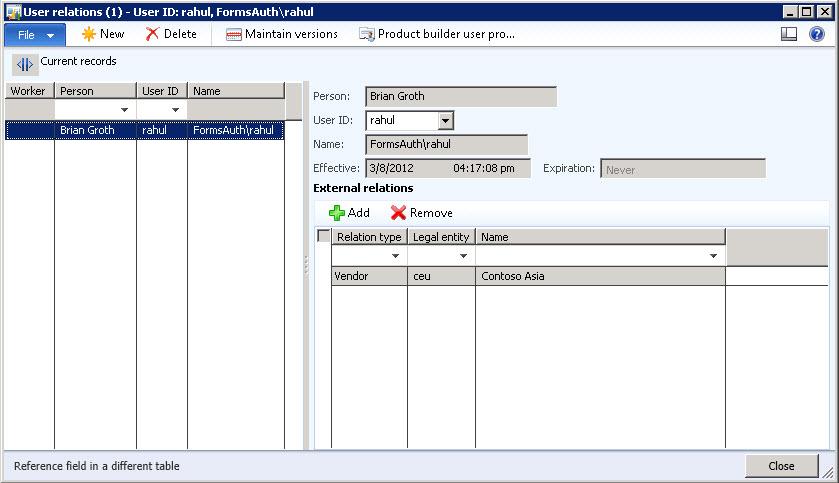 ax 2009 vendor address record relationship