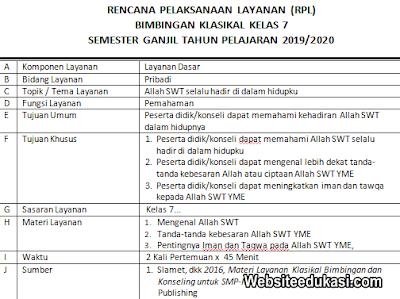RPL BK Kelas 7 SMP/MTs Kurikulum 2013 Revisi 2019