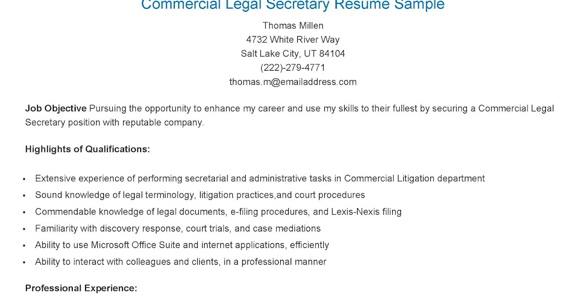 resume samples commercial legal secretary resume sample