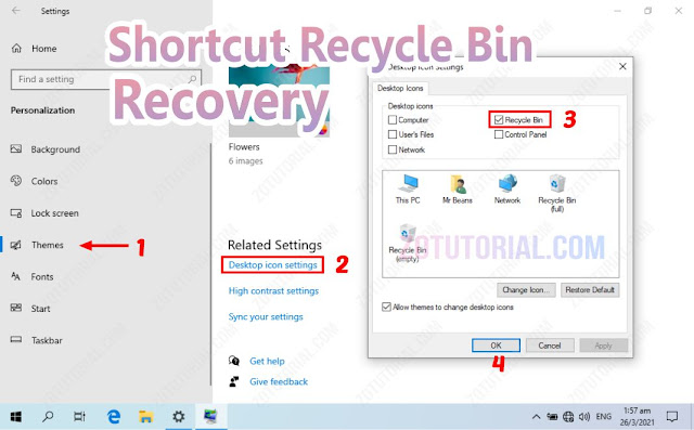 Memunculkan Icon Recycle Bin yang Hilang di Windows 10/8/7 by zotutorial.com