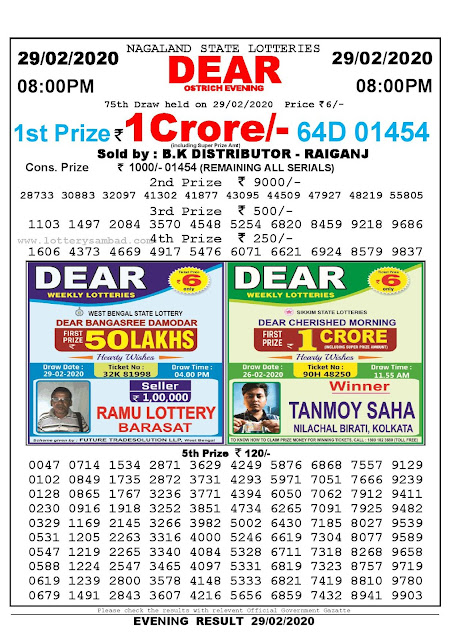 Lottery Sambad 29.02.2020 Nagaland Lottery Result 8 PM